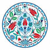 pic of ottoman  - Antique Turkish  circular ceramic design  - JPG