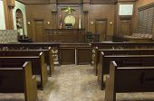 image of courtroom  - Empty courtroom with judge chair - JPG