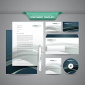 Business Stationery Template Wave
