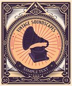 Vintage gramophone & propaganda style poster. Highly detailed original illustration,  just add your