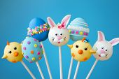 stock photo of cake-ball  - Cake pops with an Easter theme - JPG
