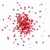 Heart Sprinkles In Red, Pink And White On A Pile