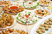 stock photo of buffet catering  - Catering food table at a wedding party