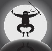 picture of ninja  - Vector ninja with katana jumping over full moon background - JPG