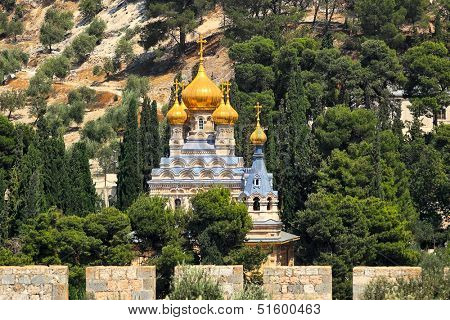 Church of Mary Magdalene located on Mount of Olives in Jerusalem, Israel.