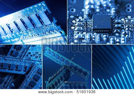 Collage of different computer parts in blue and green lights