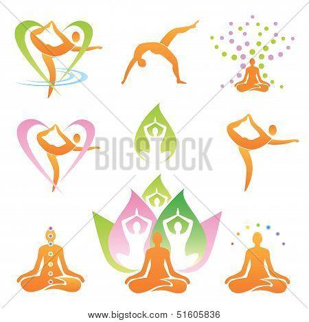 Yoga icons symbols