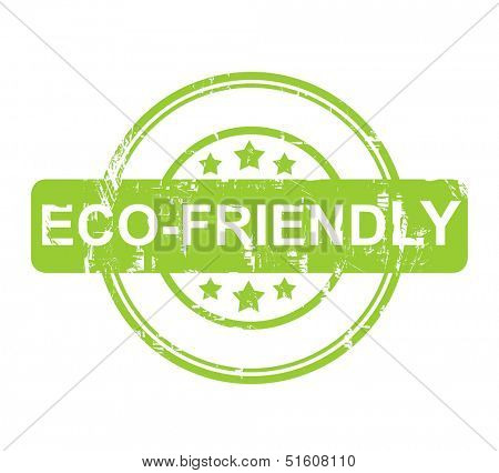 Eco Friendly green stamp with stars isolated on a white background.