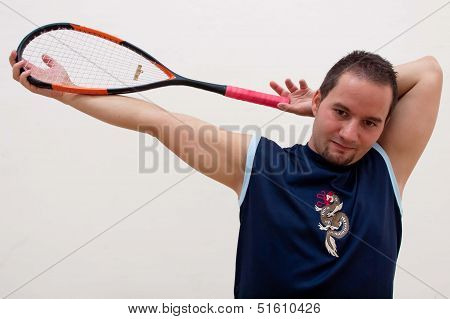 Squash player stretches