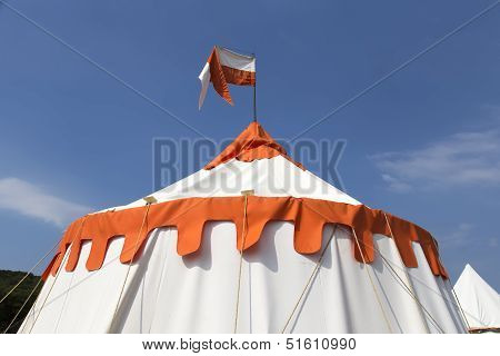 Orange And White Big Top  Tent With Sky Background