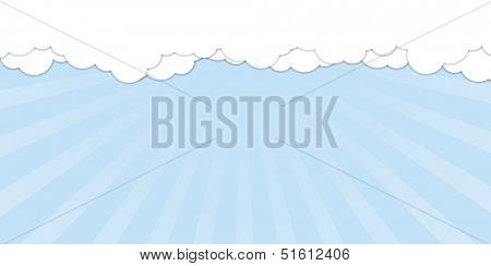 White clouds over blue sky. Vector illustration of banner with clouds at the top of image