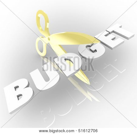Scissors cutting the word Budget to illustrate reducing costs and returning a company or organization to financial stability and profits