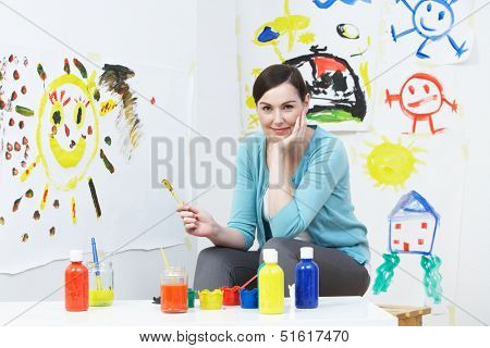 Teacher In Pre School Art Class