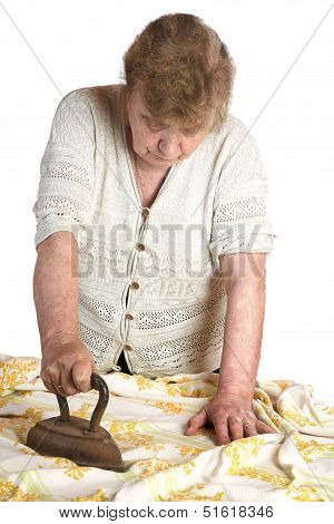 The Grandmother Irons  Fabric The Ancient Iron On A White Background
