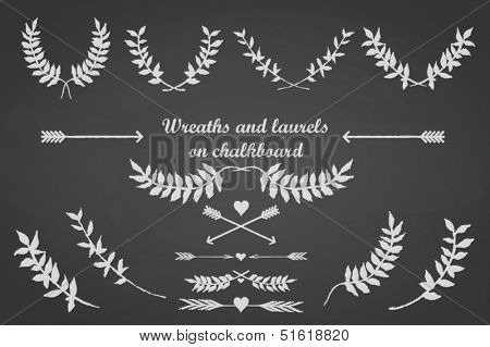 Chalkboard set for any occasion with laurels, wreaths, arrows, leaves and hearts