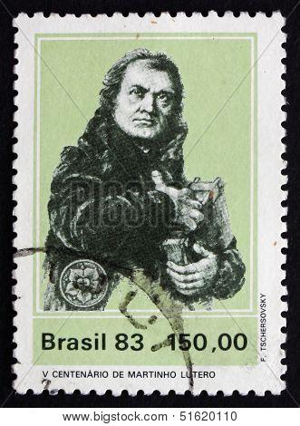 Postage Stamp Brazil 1983 Martin Luther German Priest