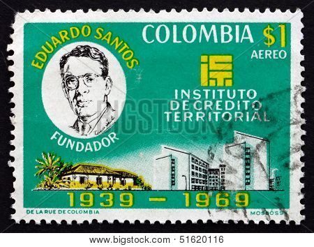 Postage Stamp Colombia 1970 Eduardo Santos, Buildings