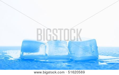 Three Ice Cubes In Blue