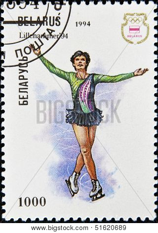 A stamp printed in Belarus shows a a figure skater in the Olympics in Lillehammer in 1994.