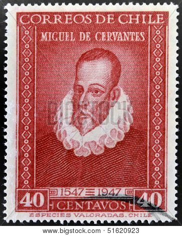 A stamp printed in Chile shows Miguel de Cervantes author of Don Quixote