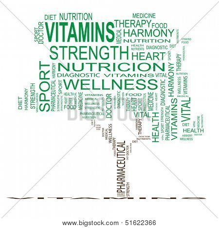 High resolution concept or conceptual green vitamins tree word cloud on white background