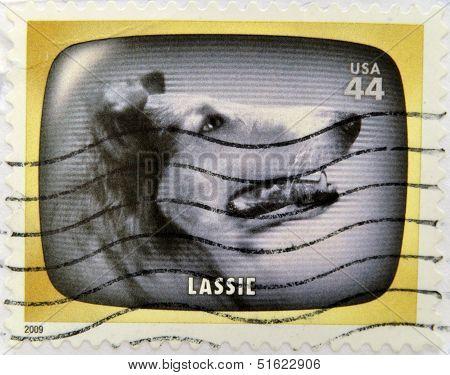 A stamp printed in USA Celebrates Classic TV shows Lassie