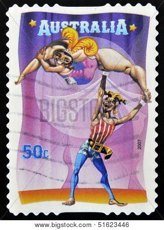 A stamp printed in Australia dedicated to circus shows The Banana Lady