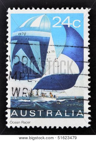 A stamp printed in Australia shows ocean racer