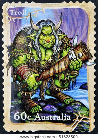 A stamp printed in Australia shows Troll