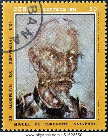 A stamp printed in Cuba shows portrait of Don Quijote De La Mancha
