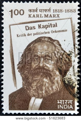 stamp printed in India shows Karl Marx