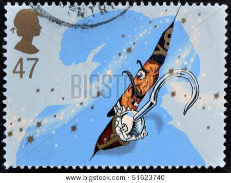 A stamp printed in Great Britain shows captain Hook. Stamp dedicated to Peter Pan