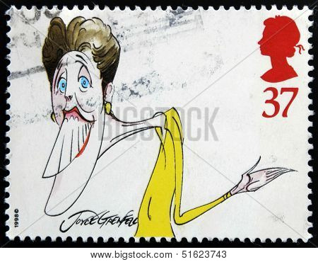 A stamp printed in Great Britain dedicated to comedians shows Joyce Grenfell