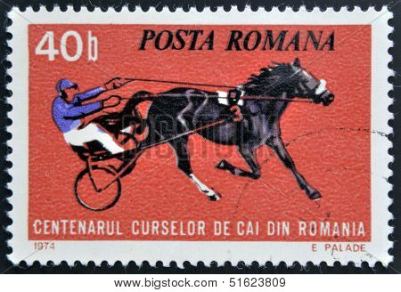 ROMANIA - CIRCA 1974: stamp printed in Romania shows horse races circa 1974.