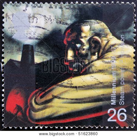 A stamp shows Industrial Worker and Blast Furnace (James Watt's discovery of steam power)