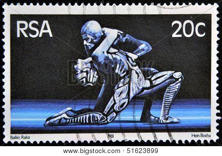 A stamp printed in RSA shows scene of raka ballet