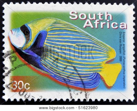 A stamp printed in RSA shows emperor angelfish Pomacanthus imperator