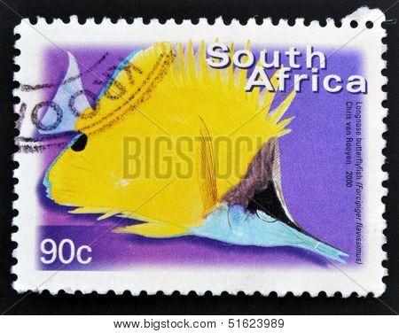 A stamp printed in RSA shows Longnose Butterflyfish Forcipiger flavissimus