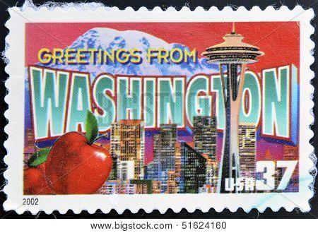 UNITED STATES OF AMERICA - CIRCA 2002: A stamp printed in USA dedicated to Washington circa 2002