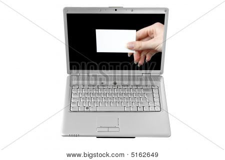 Isolated Laptop Screen And A Blank Business Card