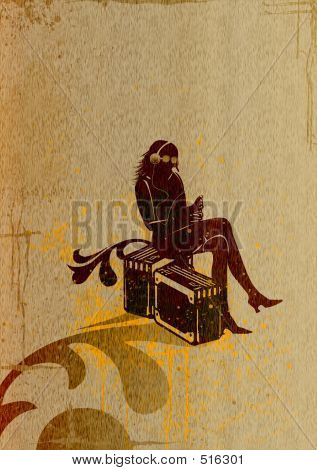 Picture or Photo of Young women silhouette with headphones and suitcase travel,the background is aged rusty grunge