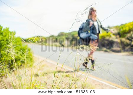 Focus on straw with hitchhiking blonde on background at the road side