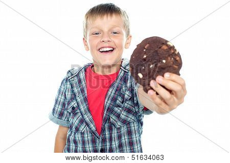 Cheerful Boy Offering You A Chocolate Cookie