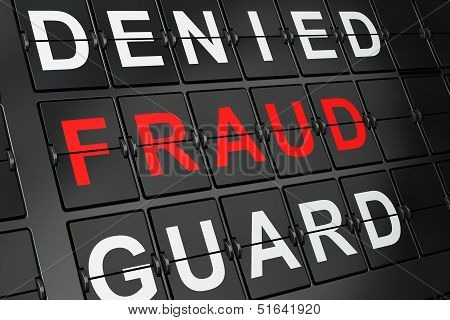 Protection concept: Fraud on airport board background