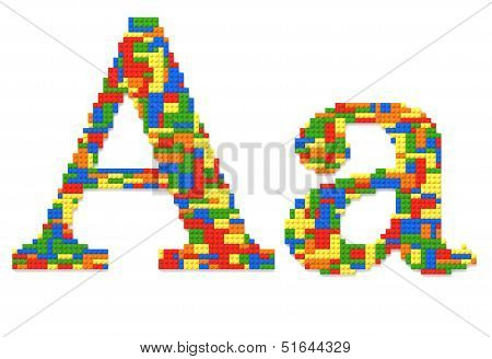 Letter A Built From Toy Bricks In Random Colors