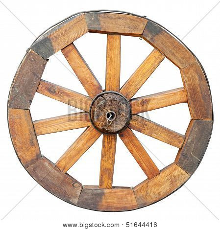 Wooden Wheel, Isolated On White