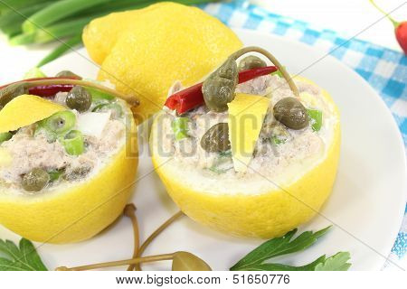 Stuffed Lemons With Tuna Cream And Eggs