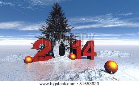 Ilustraci�n De Numero De A�o 2014 Con Nieve Bolas De Navidad