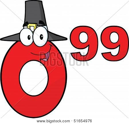 Price Tag Red Number 0 99 With Pilgrim Hat Cartoon Character