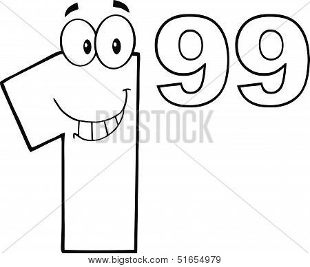 Black And White Price Tag Number 1 99 Cartoon Character